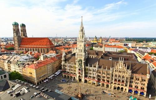Munich city center marienplatz